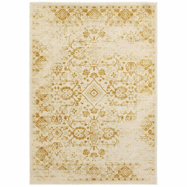 Jayden Ivory Gold Oriental Distressed Traditional Rug - Free Shipping