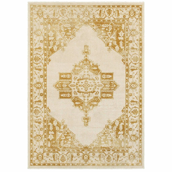 Jayden Ivory Gold Oriental Medallion Traditional Rug - Free Shipping