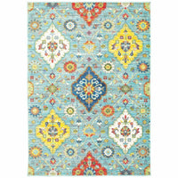 Joli Blue Multi Floral Medallion Transitional Rug - Free Shipping