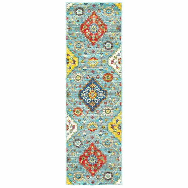 Woven - Joli Blue Multi Floral Medallion Transitional Rug