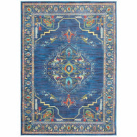 Joli Blue Multi Oriental Medallion Traditional Rug - Free Shipping