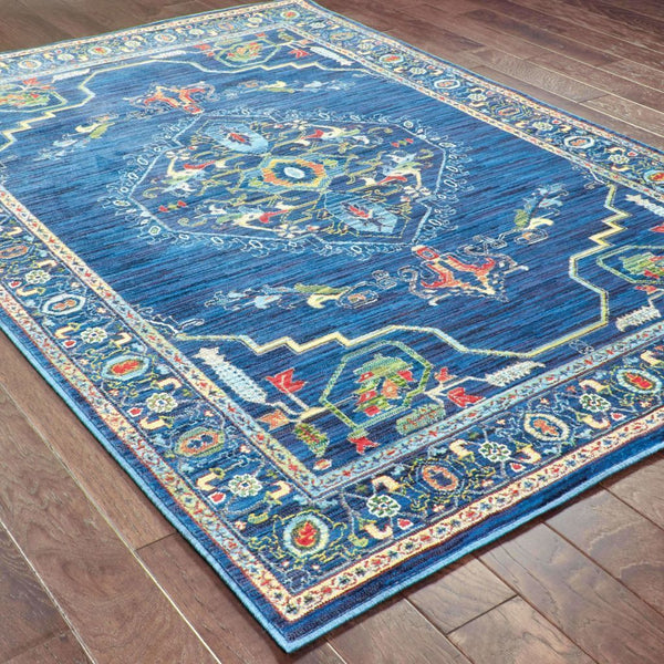 Woven - Joli Blue Multi Oriental Medallion Traditional Rug