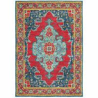 Joli Blue Red Oriental Medallion Traditional Rug - Free Shipping