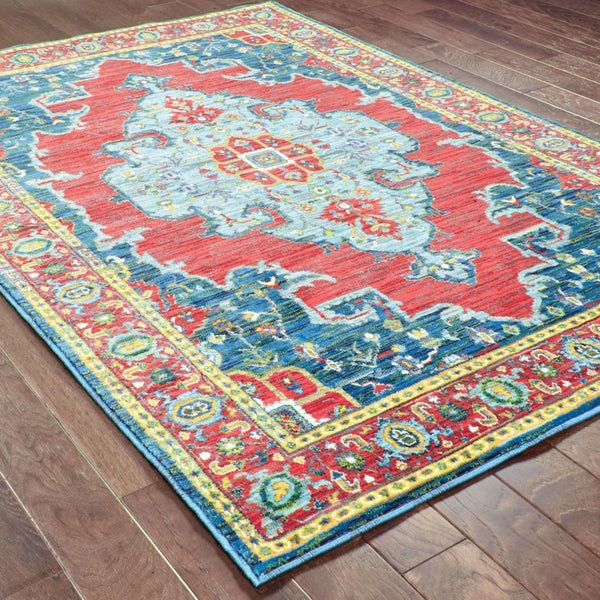 Woven - Joli Blue Red Oriental Medallion Traditional Rug