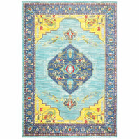 Joli Blue Yellow Oriental Medallion Traditional Rug - Free Shipping