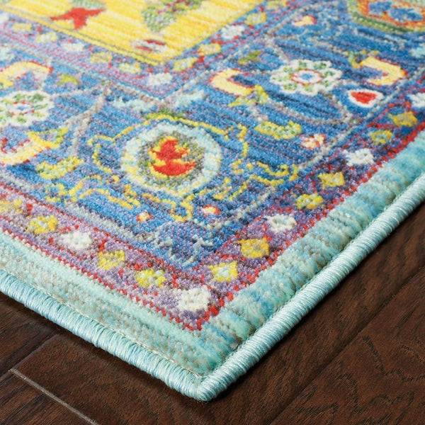 Woven - Joli Blue Yellow Oriental Medallion Traditional Rug
