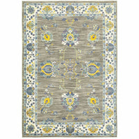 Joli Grey Yellow Oriental Floral Traditional Rug - Free Shipping