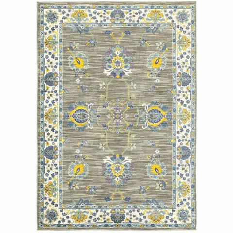 Joli Grey Yellow Oriental Floral Traditional Rug