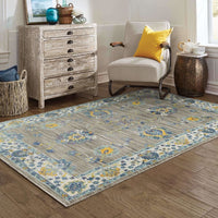 Woven - Joli Grey Yellow Oriental Floral Traditional Rug