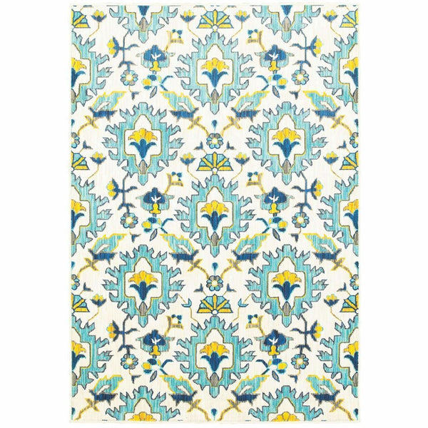Joli Ivory Blue Floral Lattice Transitional Rug - Free Shipping