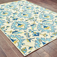 Woven - Joli Ivory Blue Floral Lattice Transitional Rug
