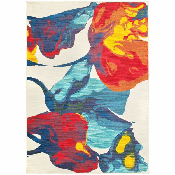 Joli Ivory Multi Abstract Floral Contemporary Rug - Free Shipping