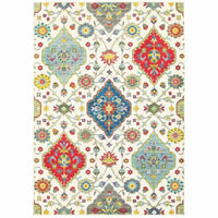 Joli Ivory Multi Floral Medallion Transitional Rug - Free Shipping