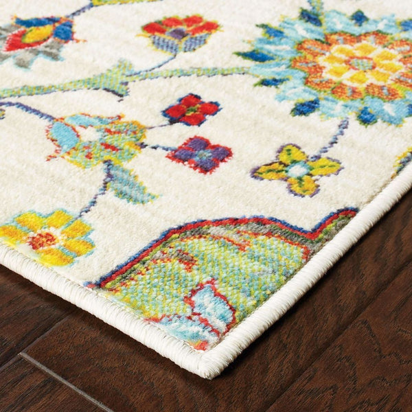 Woven - Joli Ivory Multi Floral Medallion Transitional Rug