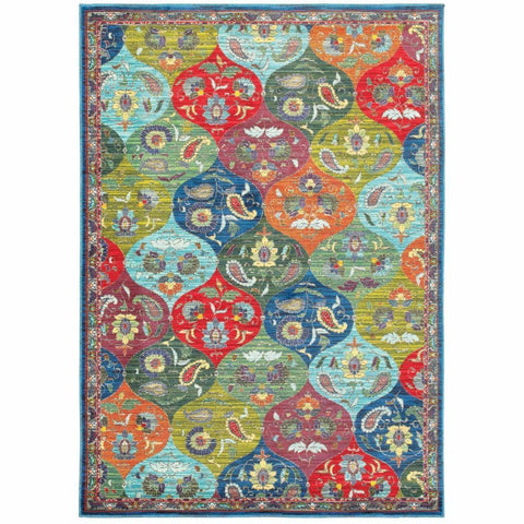 Joli Multi Blue Geometric Lattice Casual Rug
