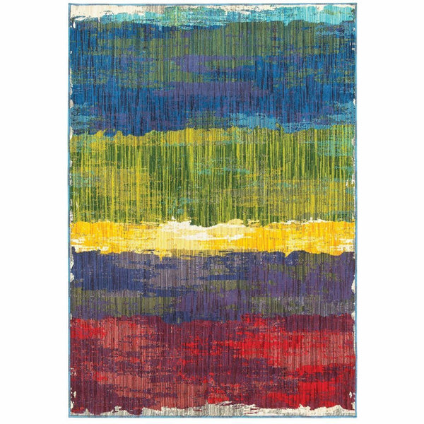 Joli Multi Multi Abstract Distressed Contemporary Rug - Free Shipping