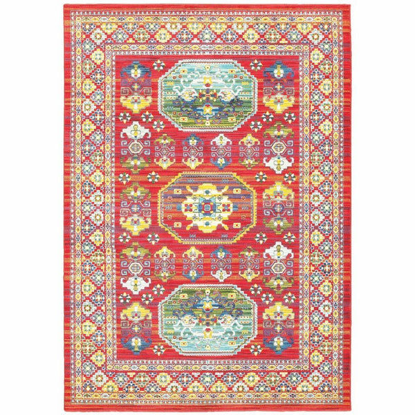 Joli Red Multi Oriental Distressed Traditional Rug - Free Shipping