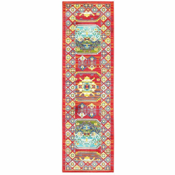 Woven - Joli Red Multi Oriental Distressed Traditional Rug