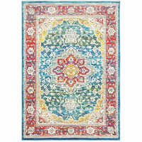 Joli Red Multi Oriental Medallion Traditional Rug - Free Shipping