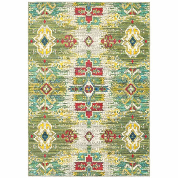 Joli Stone Green Oriental Medallion Transitional Rug - Free Shipping