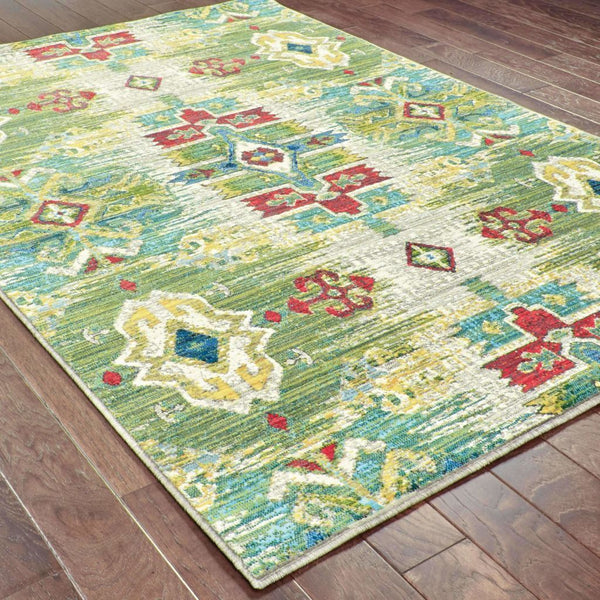 Woven - Joli Stone Green Oriental Medallion Transitional Rug