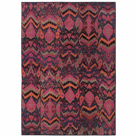 Kaleidoscope Blue Pink Abstract Tribal Transitional Rug