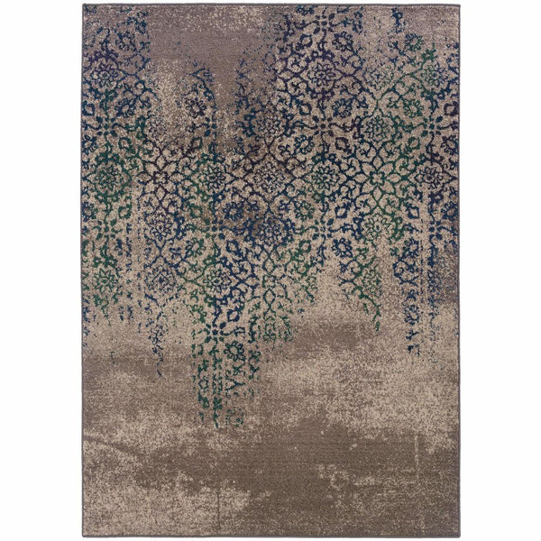 Kaleidoscope Grey Blue Abstract Distressed Transitional Rug - Free Shipping