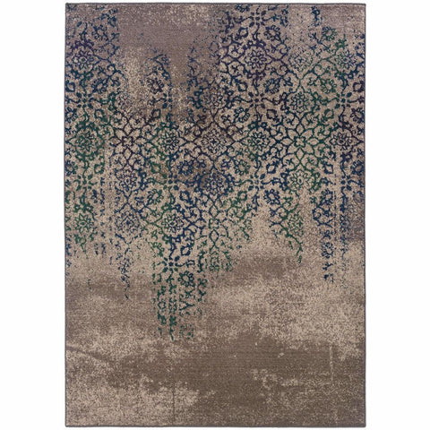 Oriental Weavers Kaleidoscope Grey Blue Abstract Distressed Transitional Rug