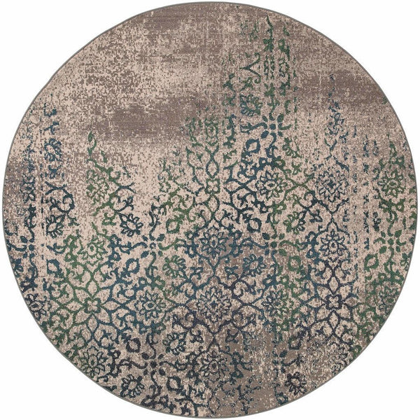 Woven - Kaleidoscope Grey Blue Abstract Distressed Transitional Rug