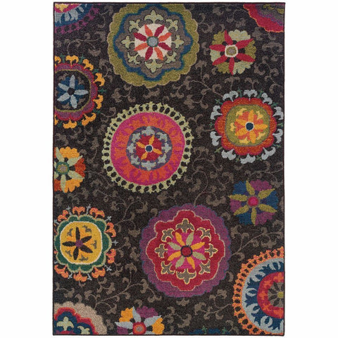Oriental Weavers Kaleidoscope Grey Multi Floral  Transitional Rug