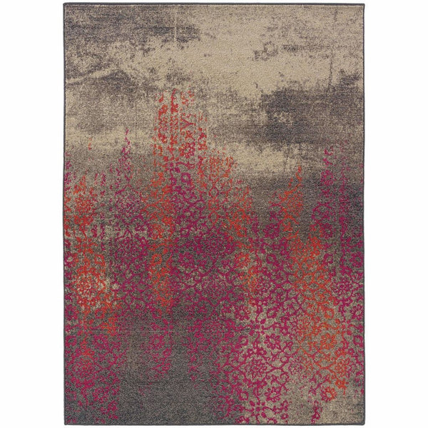Kaleidoscope Grey Pink Abstract Distressed Transitional Rug - Free Shipping