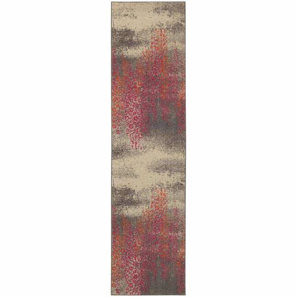 Woven - Kaleidoscope Grey Pink Abstract Distressed Transitional Rug