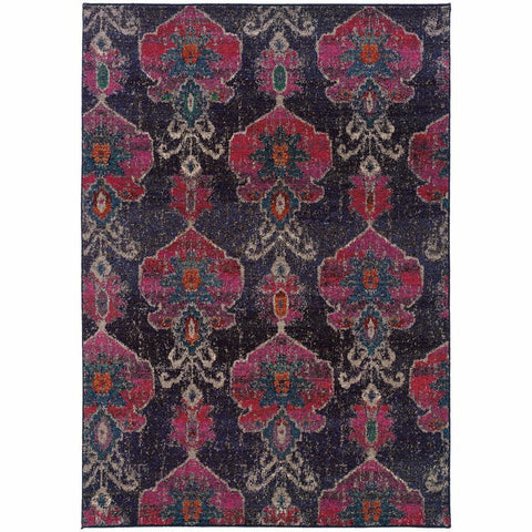 Oriental Weavers Kaleidoscope Grey Pink Abstract Floral Transitional Rug