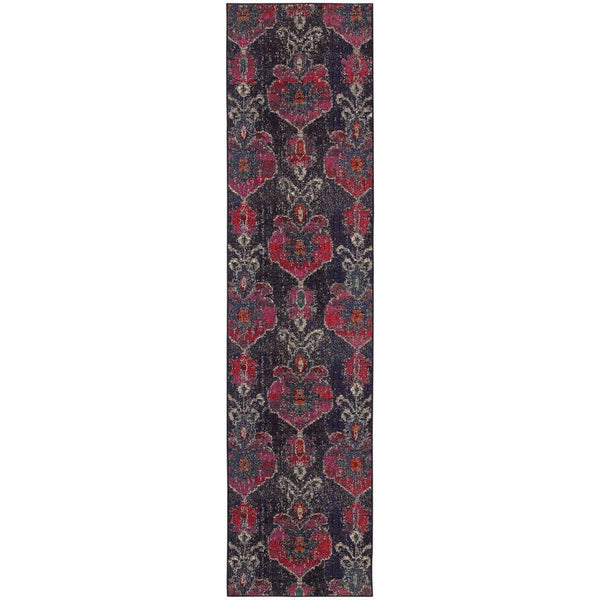 Kaleidoscope Grey Pink Abstract Floral Transitional Rug - Free Shipping