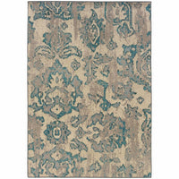 Kaleidoscope Ivory Blue Floral Distressed Transitional Rug - Free Shipping