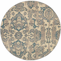 Woven - Kaleidoscope Ivory Blue Floral Distressed Transitional Rug