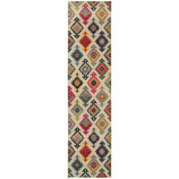 Kaleidoscope Ivory Multi Tribal  Transitional Rug - Free Shipping