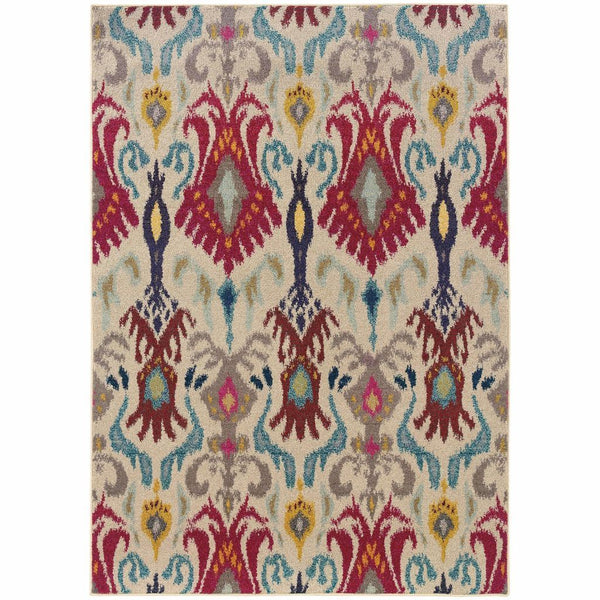 Kaleidoscope Ivory Red Abstract Floral Transitional Rug - Free Shipping
