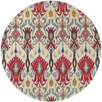 Woven - Kaleidoscope Ivory Red Abstract Floral Transitional Rug