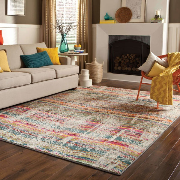 Woven - Kaleidoscope Multi Grey Abstract Distressed Transitional Rug