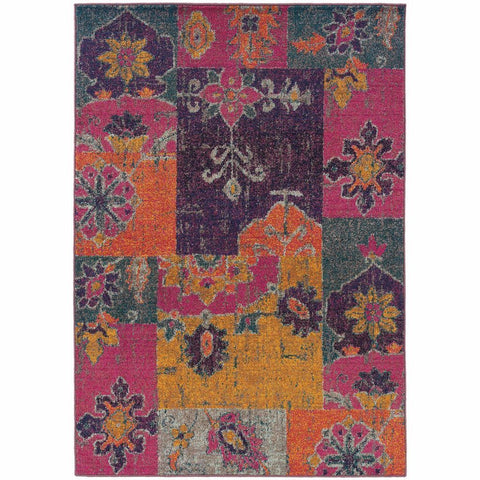 Oriental Weavers Kaleidoscope Multi Pink Floral Ikat Transitional Rug