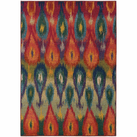 Oriental Weavers Kaleidoscope Multi Red Abstract Ikat Transitional Rug