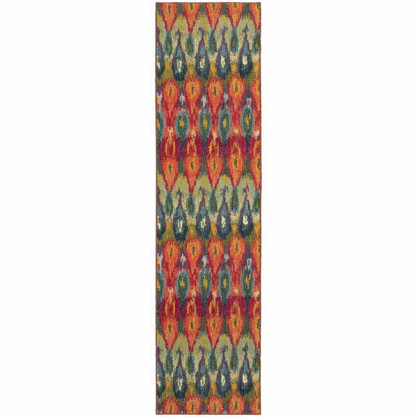 Woven - Kaleidoscope Multi Red Abstract Ikat Transitional Rug
