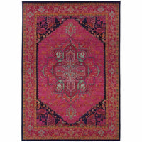 Kaleidoscope Pink Blue Oriental Persian Traditional Rug - Free Shipping