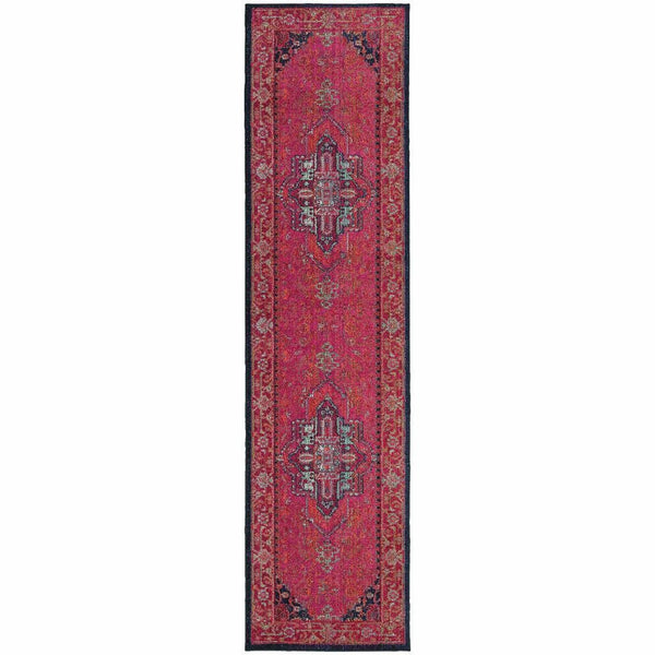 Woven - Kaleidoscope Pink Blue Oriental Persian Traditional Rug