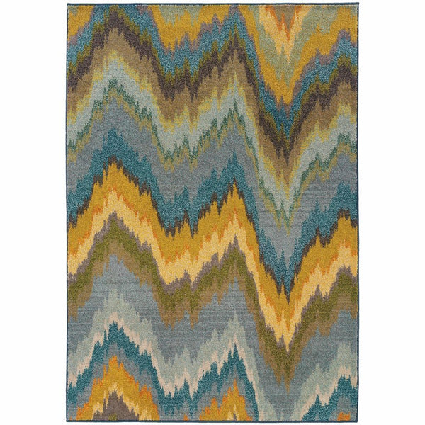 Kaleidoscope Yellow Blue Abstract Chevron Contemporary Rug - Free Shipping