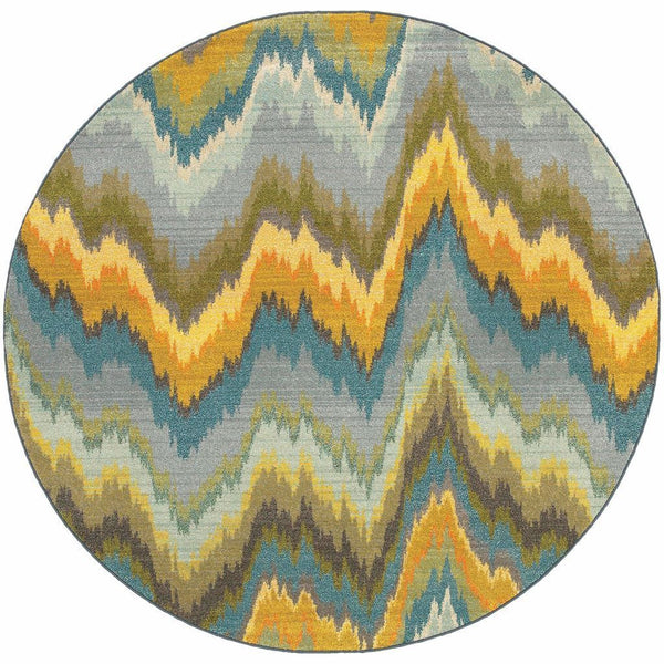 Woven - Kaleidoscope Yellow Blue Abstract Chevron Contemporary Rug