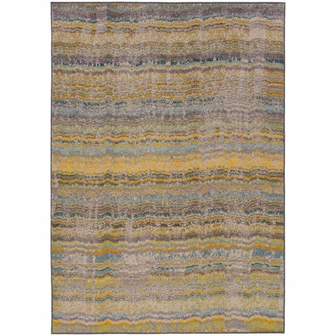 Oriental Weavers Kaleidoscope Yellow Grey Abstract Distressed Transitional Rug