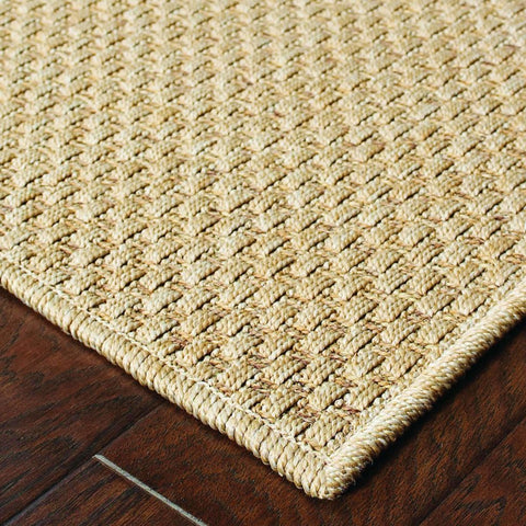 Oriental Weavers Karavia Sand  Solid Basket Weave Outdoor Rug