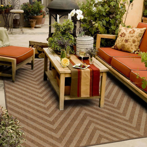 Oriental Weavers Karavia Tan Light Tan Geometric Chevron Outdoor Rug